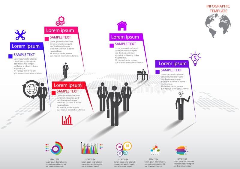 Icone e Busi di vendita di progettazione e del modello di Infographic illustrazione vettoriale