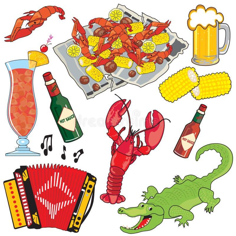 Icone e ele del clipart dell'alimento, di musica e delle bevande di Cajun royalty illustrazione gratis