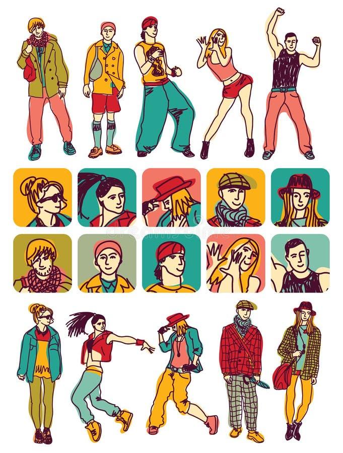 icone e figure stabilite della gente dei caratteri illustrazione vettoriale