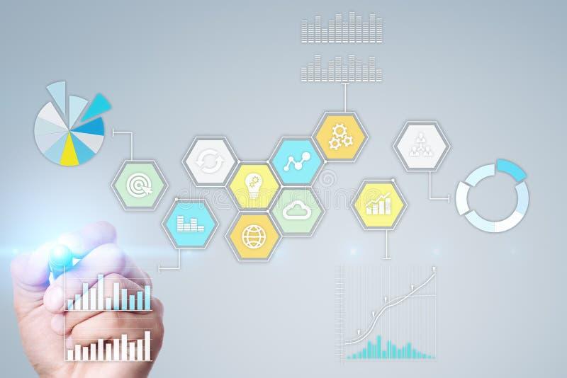 Icone e grafici colorati di applicazioni sullo schermo virtuale Concetto di affari, di Internet e di tecnologia immagine stock