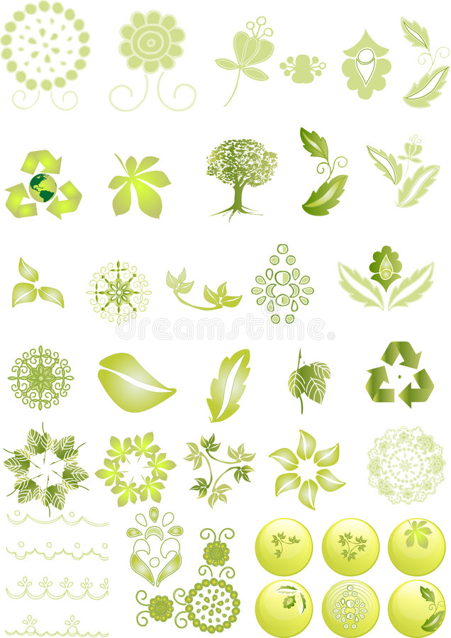 Icone e grafici verdi illustrazione di stock