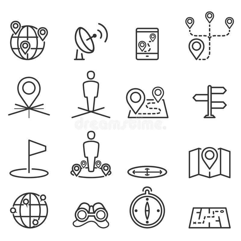 Icone e posizione della mappa su terreno illustrazione di stock