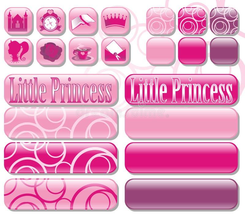 Icone e principessa dei tasti piccola illustrazione di stock