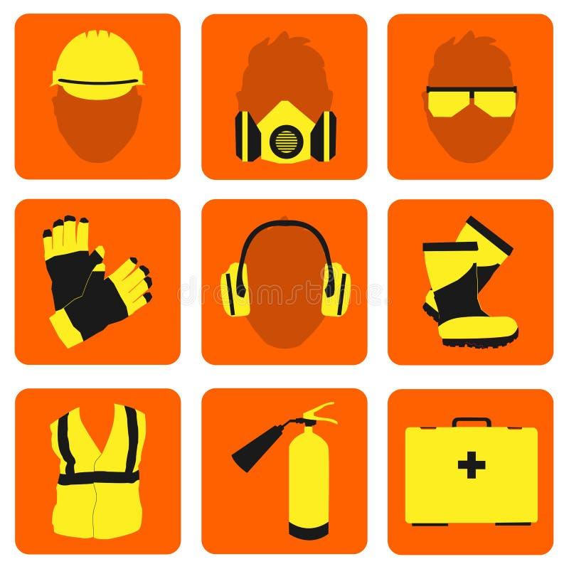 Icone e segni di salute e sicurezza sul lavoro messi illustrazione di stock