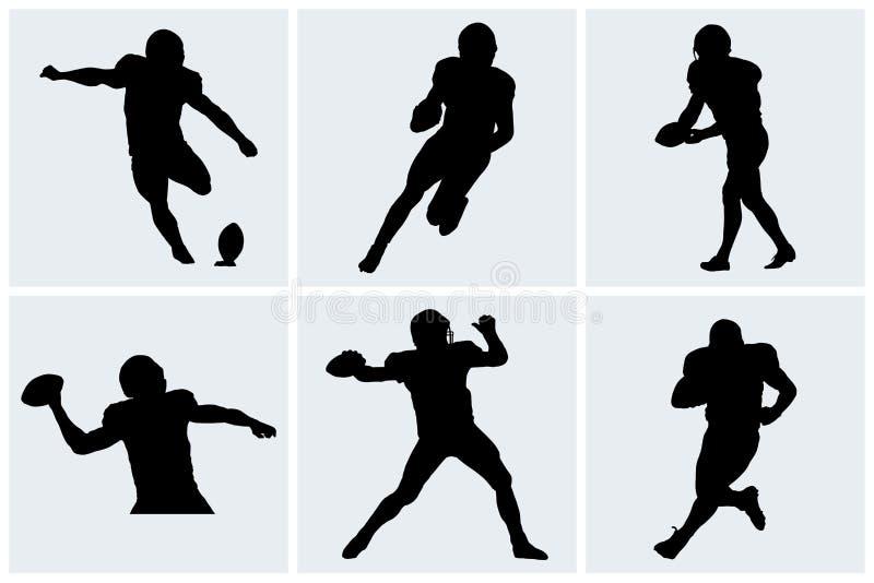 Icone e siluette del giocatore di football americano illustrazione vettoriale