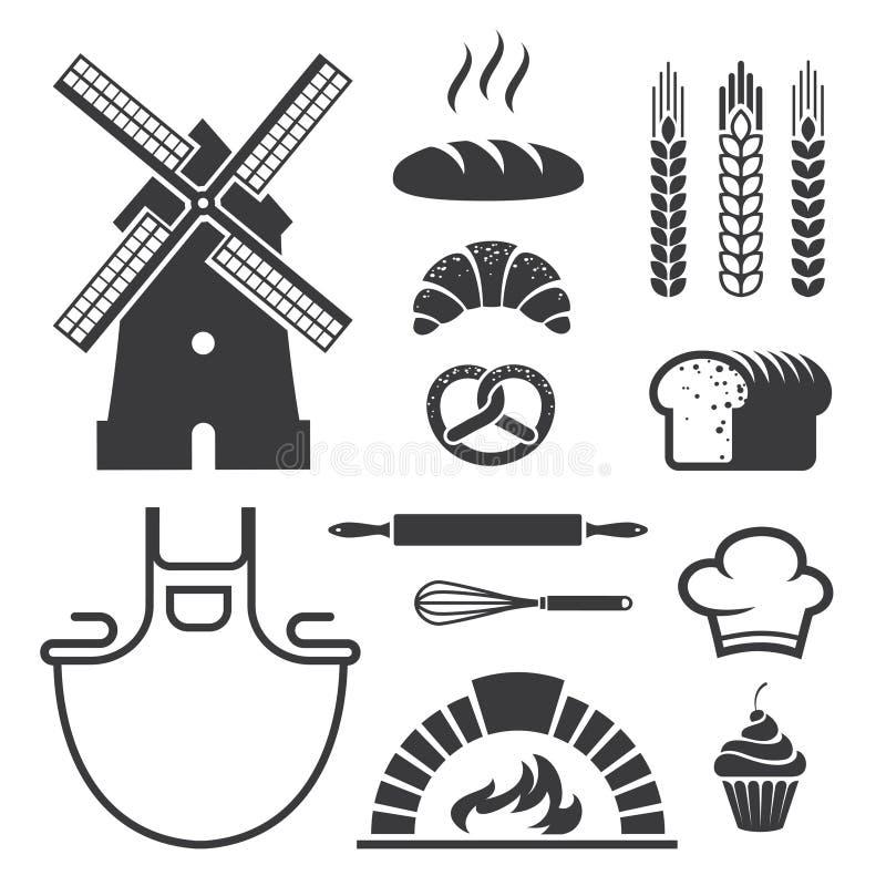 Icone e simboli del forno illustrazione vettoriale
