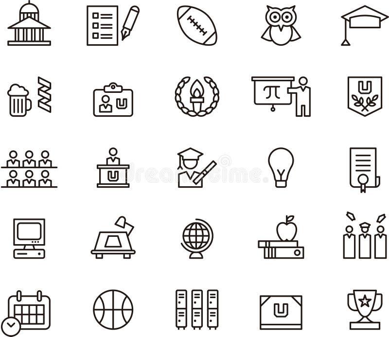 Icone e simboli dell'istituto universitario royalty illustrazione gratis