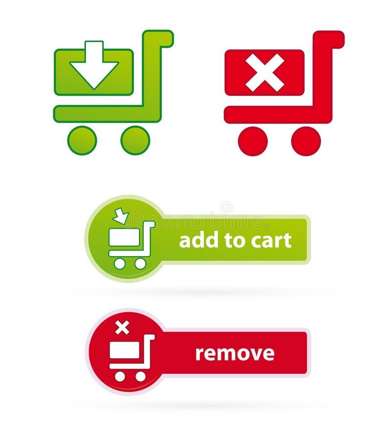 Icone e tasti del carrello di acquisto illustrazione di stock
