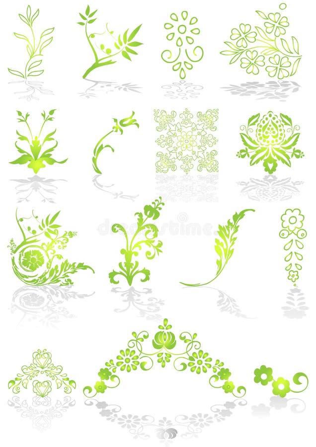 Icone e vettore verdi dei grafici illustrazione di stock
