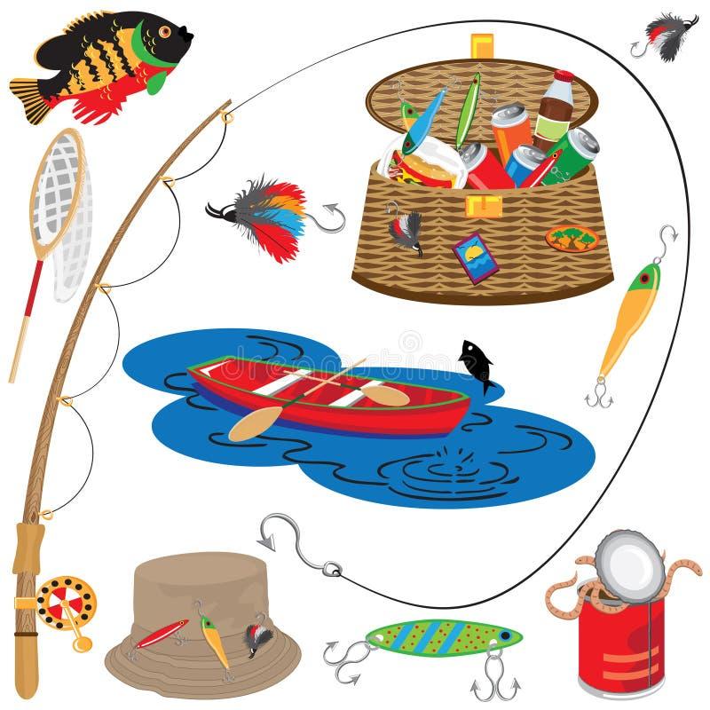 Icone ed elementi di pesca royalty illustrazione gratis