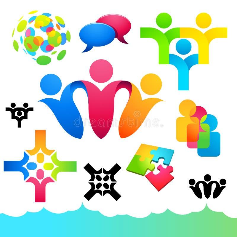Icone ed elementi sociali della gente royalty illustrazione gratis
