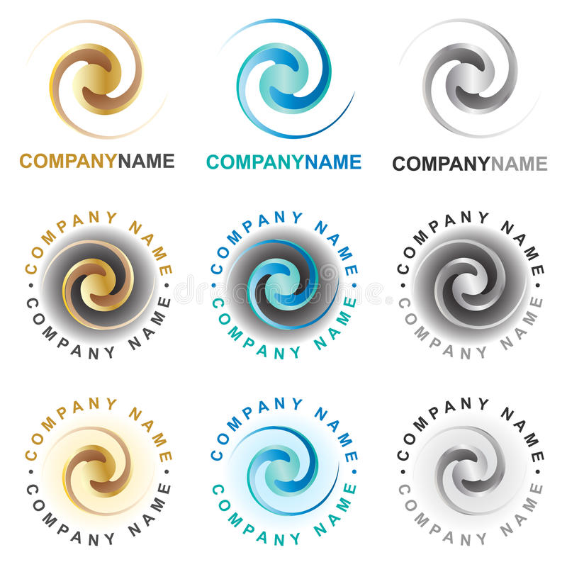 Icone ed elementi a spirale di disegno di marchio