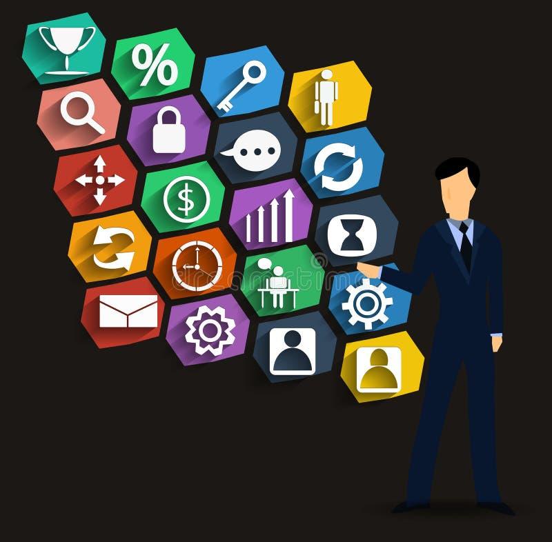 Icone ed uomo d'affari di affari di vettore immagini stock