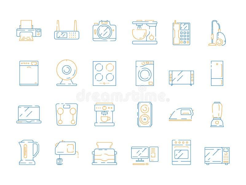 Icone elettriche domestiche Il vettore moderno del frigorifero TV degli aggeggi del computer di a microonde dell'attrezzatura deg illustrazione vettoriale