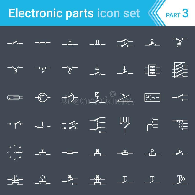 Icone elettriche ed elettroniche, simboli elettrici del diagramma Commutatori, pulsanti e commutazioni a circuito illustrazione vettoriale