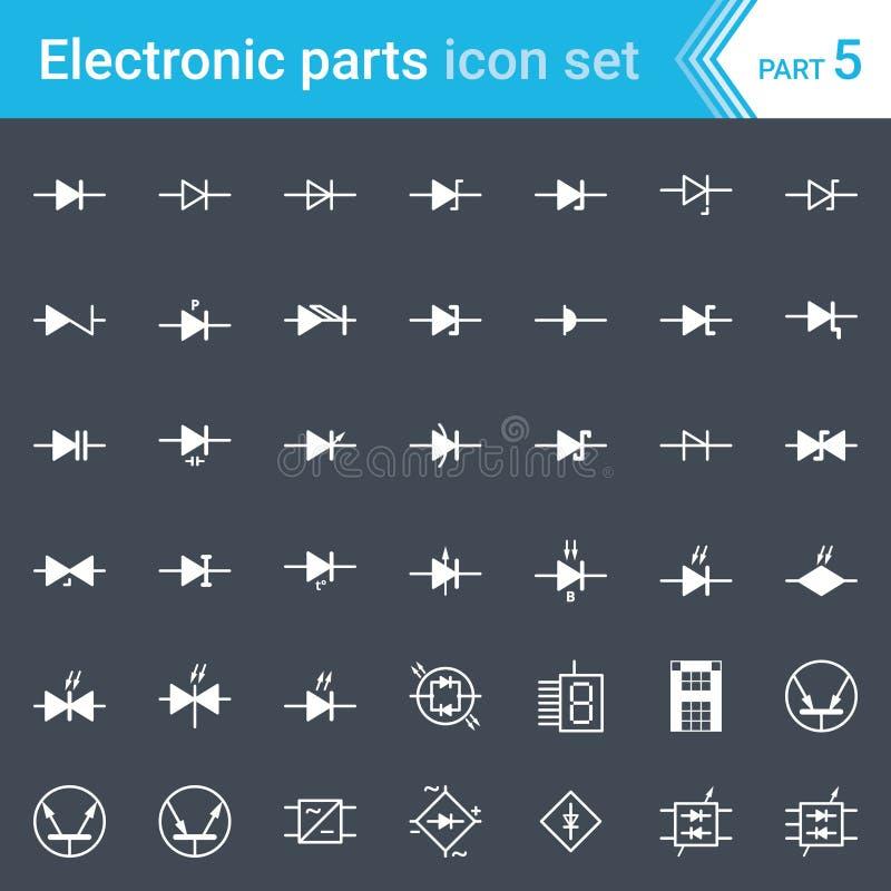 Icone elettriche ed elettroniche, simboli elettrici del diagramma Diodi e raddrizzatore a ponte illustrazione vettoriale