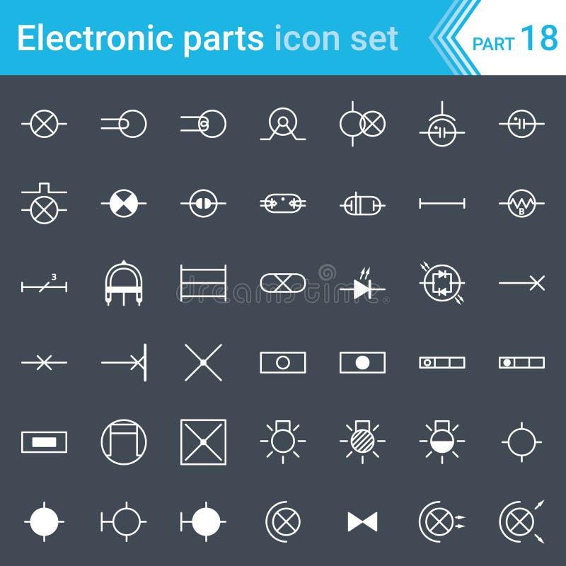 Icone elettriche ed elettroniche, simboli elettrici del diagramma illuminazione illustrazione vettoriale