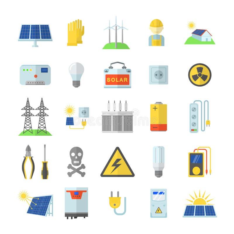 Icone a energia solare messe, stile piano dell'attrezzatura illustrazione di stock