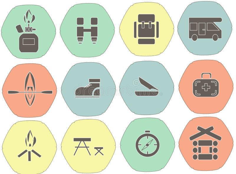 Icone esagonali piane di campeggio Fondo rosso, verde, blu, giallo, colori freddi pastelli luminosi Profilo nero con i contorni b illustrazione di stock