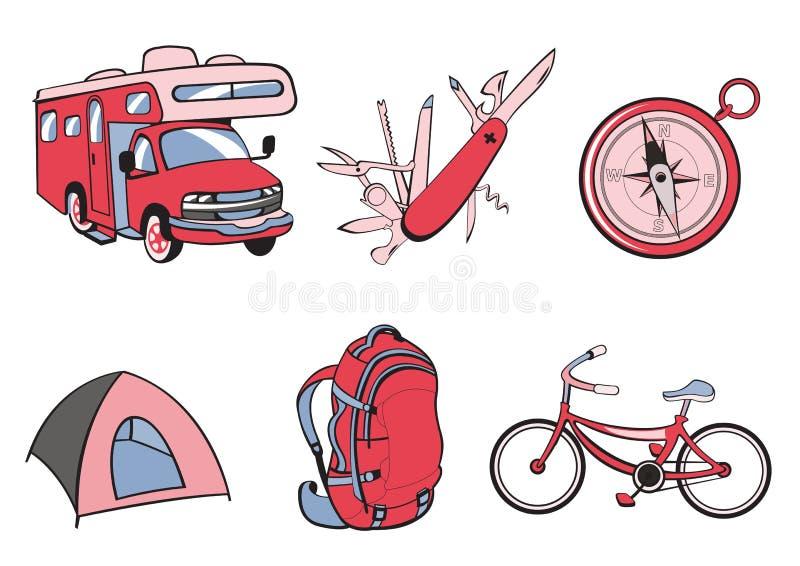 Icone esterne e di campeggi royalty illustrazione gratis
