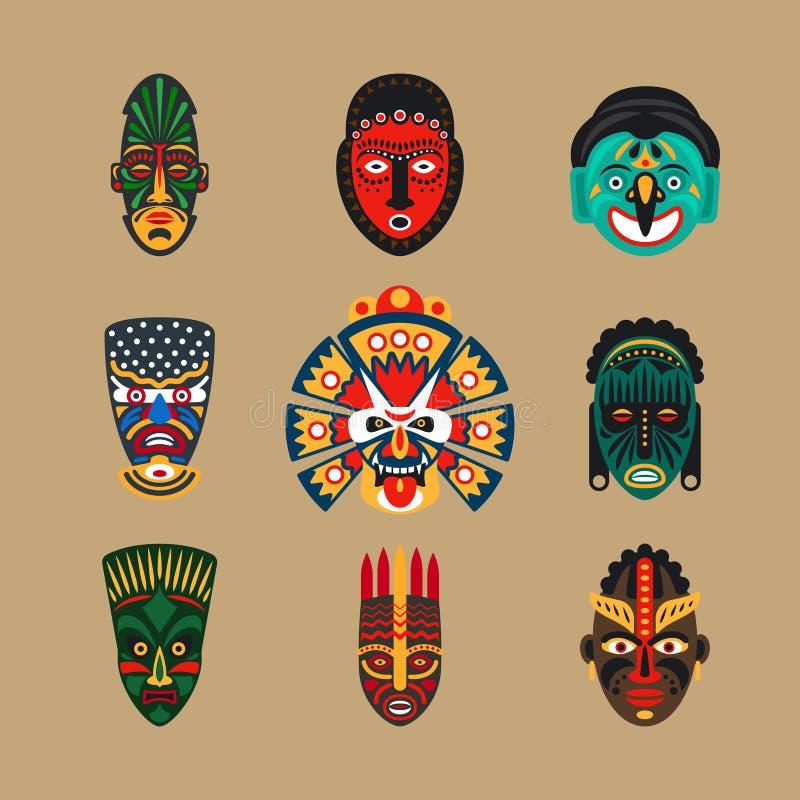 Icone etniche della maschera royalty illustrazione gratis