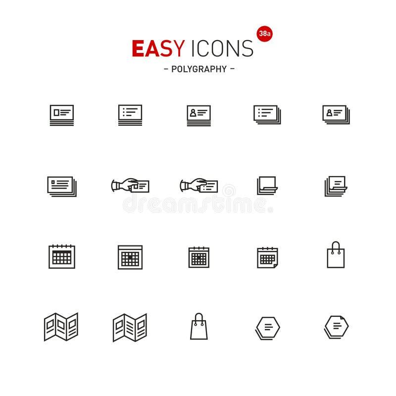 Icone facili 38a Polygraphy illustrazione di stock