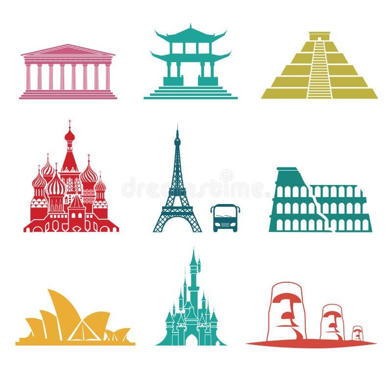 Icone famose di viaggio dei monumenti illustrazione vettoriale