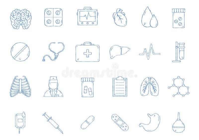 Icone fatte a mano della medicina illustrazione di stock