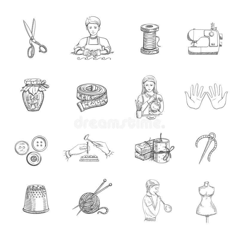 Icone fatte a mano di schizzo messe illustrazione vettoriale