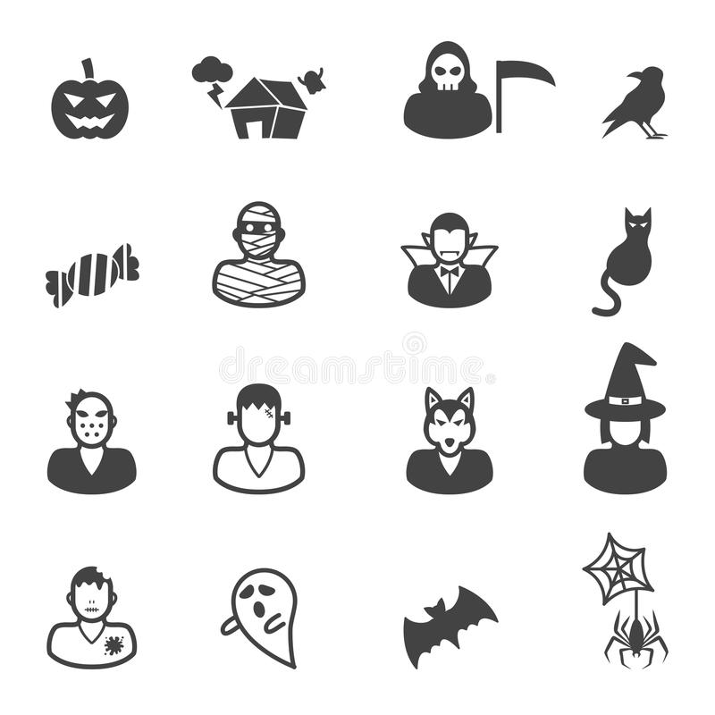 Icone felici di Halloween illustrazione vettoriale