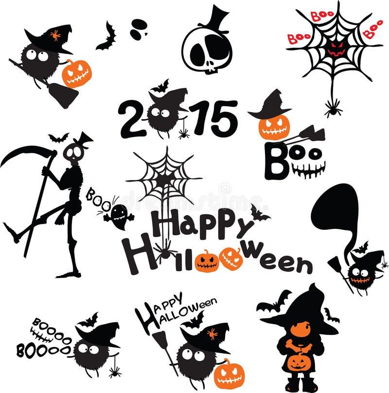 Icone felici di orrore di Halloween messe illustrazione vettoriale