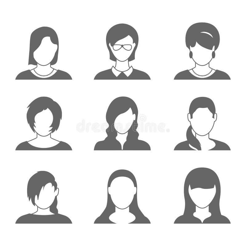 Icone femminili di profilo illustrazione vettoriale