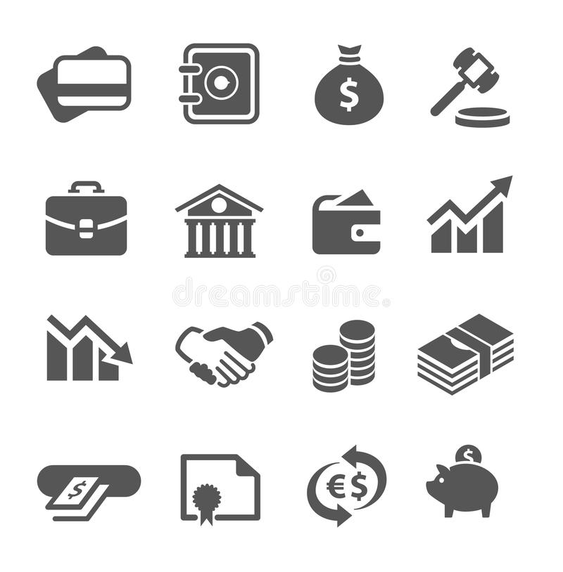 Icone finanziarie messe. royalty illustrazione gratis
