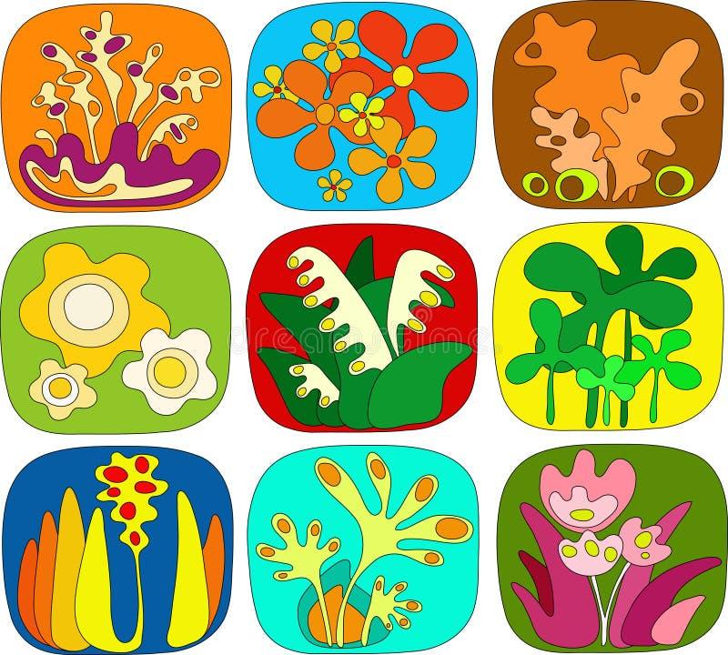 Icone floreali astratte illustrazione vettoriale