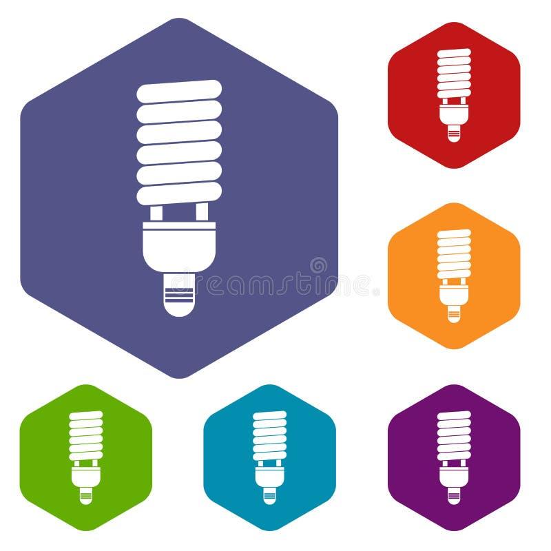 Download Icone Fluorescenti Della Lampadina Messe Illustrazione Vettoriale - Illustrazione di economia, economico: 117979111