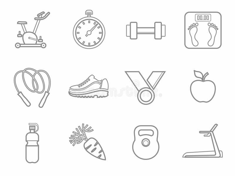 Icone, forma fisica, sport, palestra, cibo sano, contorno, linea, monocromatica royalty illustrazione gratis