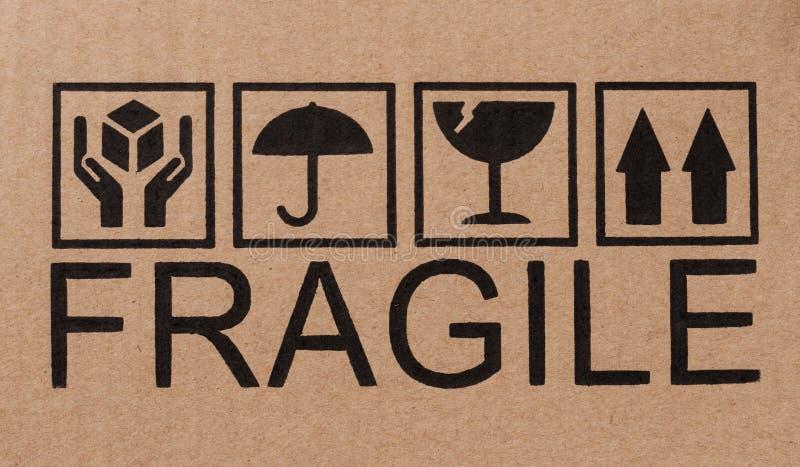 Icone fragili su cartone illustrazione vettoriale