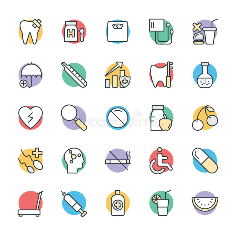 Icone fresche 9 di salute e mediche di vettore illustrazione vettoriale