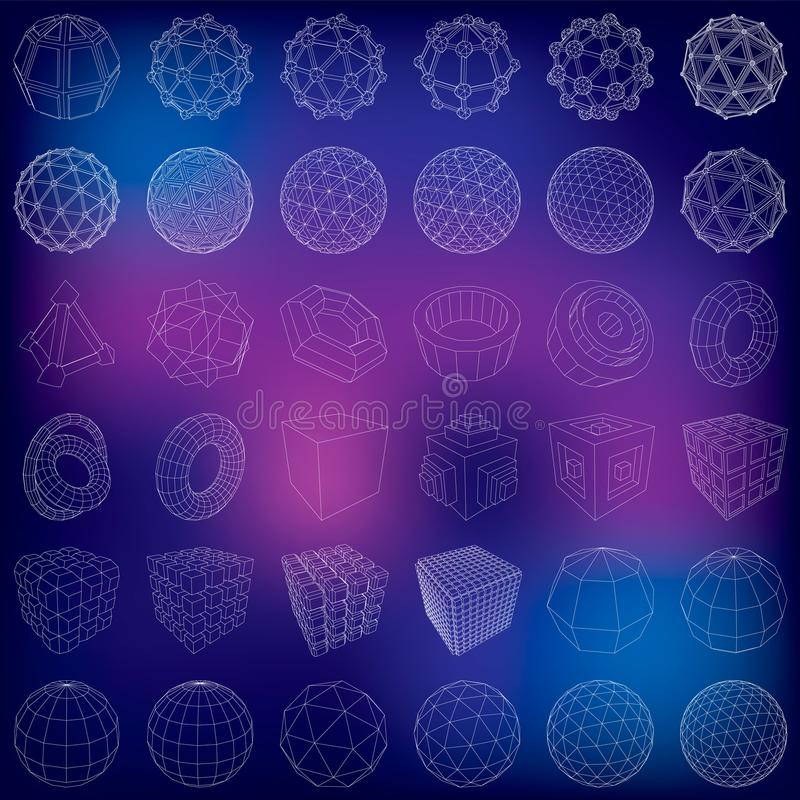 Icone futuristiche 3d Insieme degli elementi 3d e dei simboli infographic per l'interfaccia utente illustrazione di stock