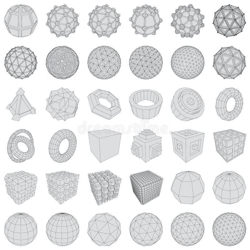 Icone futuristiche 3d Insieme degli elementi 3d e dei simboli infographic per l'interfaccia utente illustrazione vettoriale