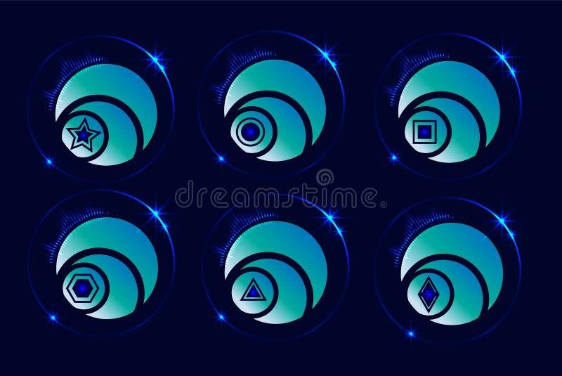 Icone futuristiche dell'illustrazione, elementi di progettazione di tecnologia, lustro Vettore illustrazione di stock