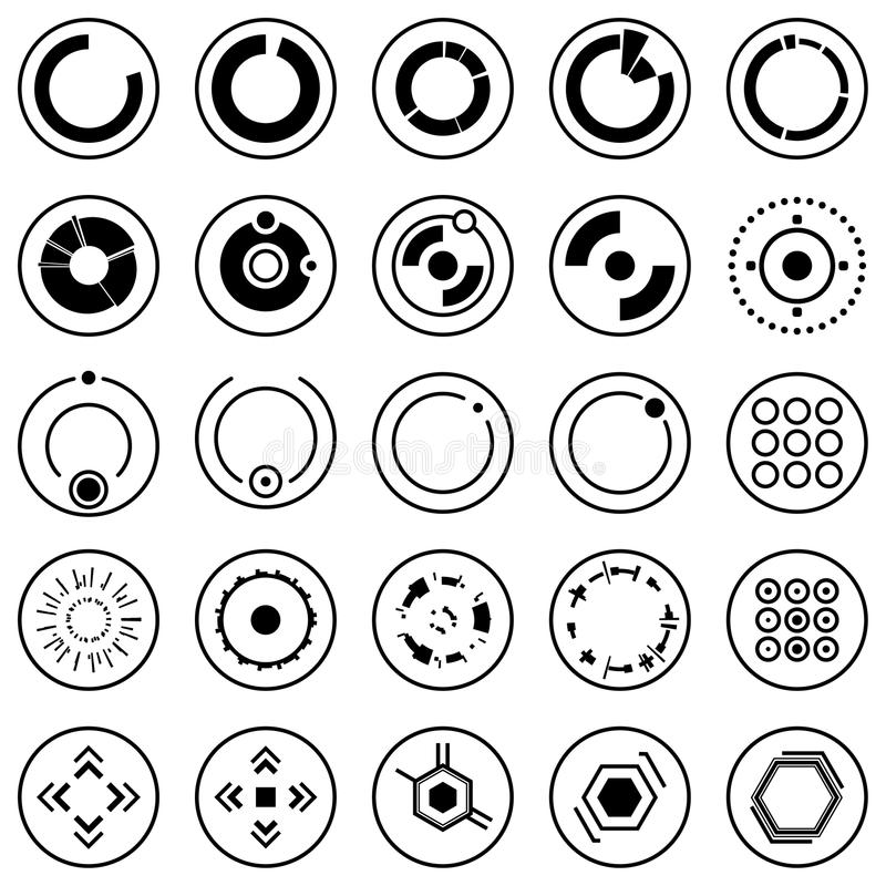 Icone futuristiche Insieme degli elementi e dei simboli infographic per l'interfaccia utente illustrazione vettoriale