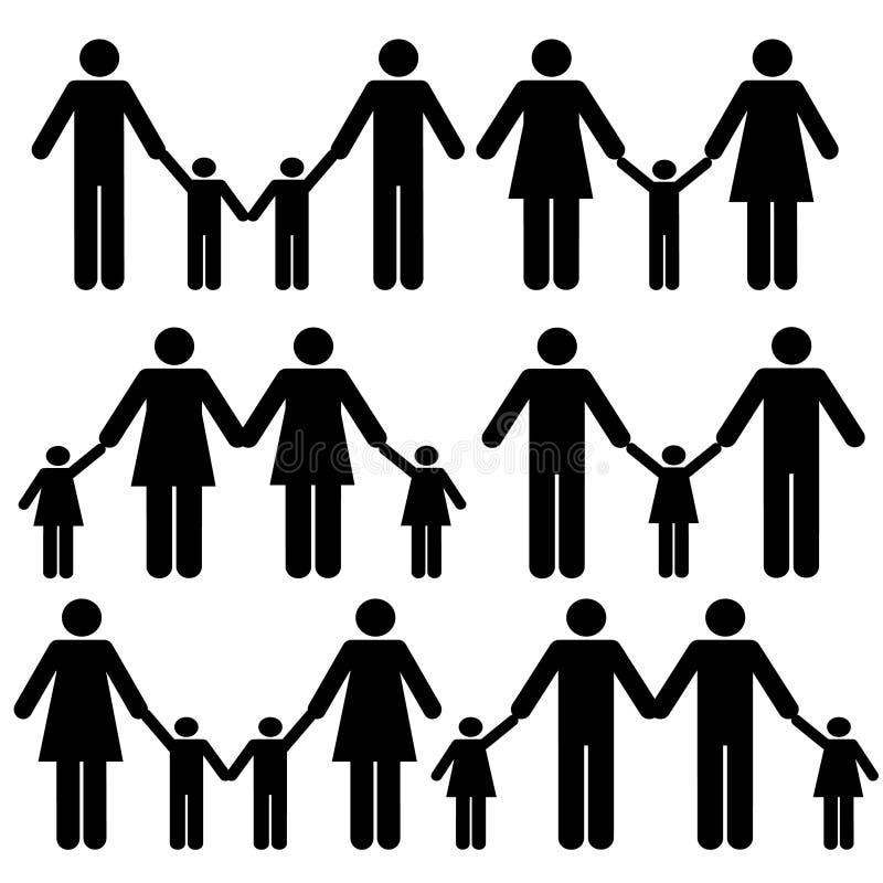 Icone gaie della famiglia illustrazione vettoriale
