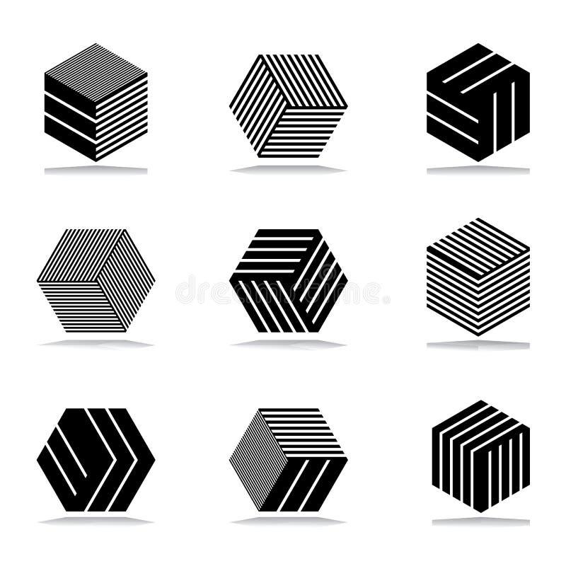 Icone geometriche astratte messe illustrazione vettoriale