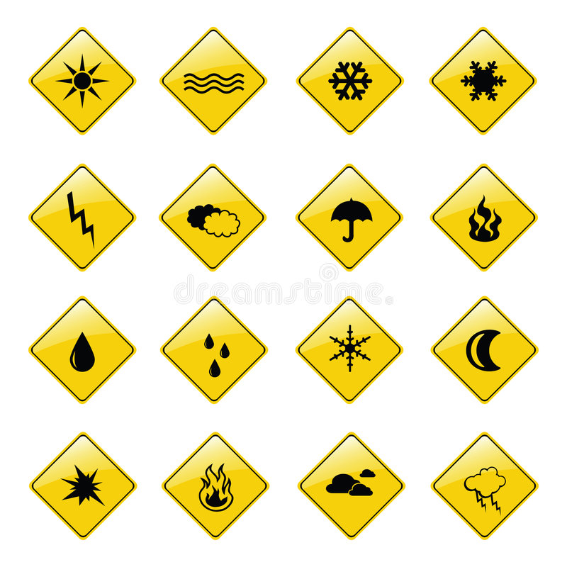 Icone gialle del segno del tempo illustrazione di stock