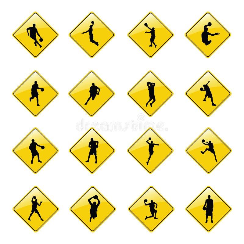 Icone gialle del segno di pallacanestro illustrazione di stock