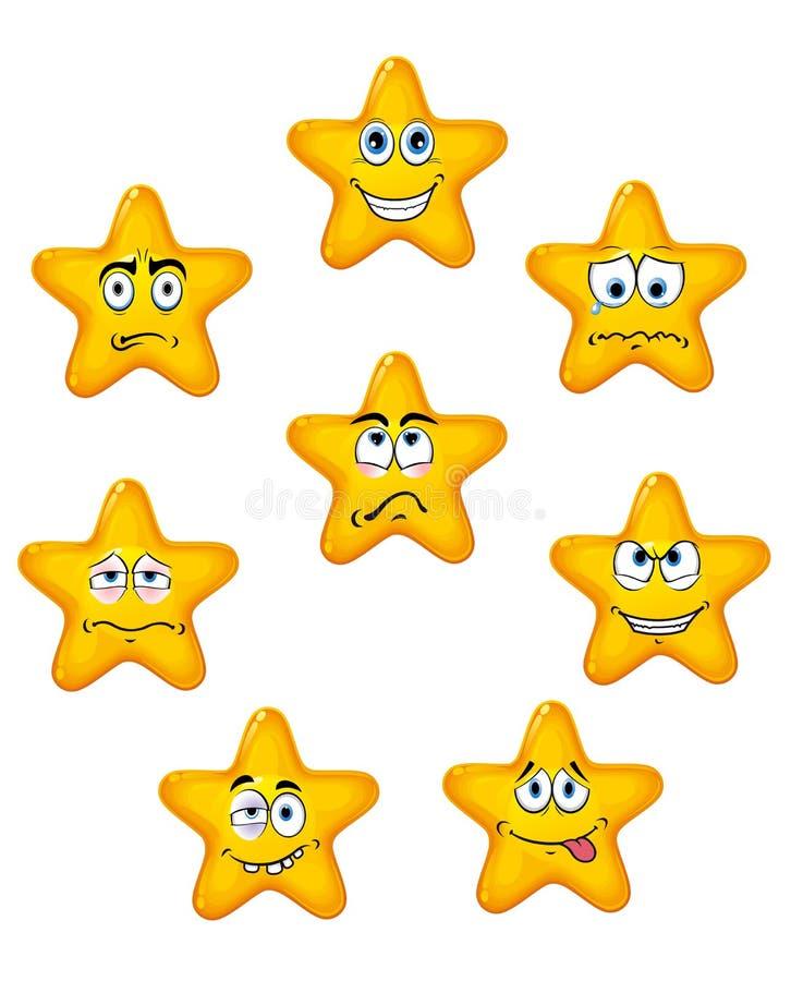 Icone gialle della stella con differenti emozioni illustrazione di stock