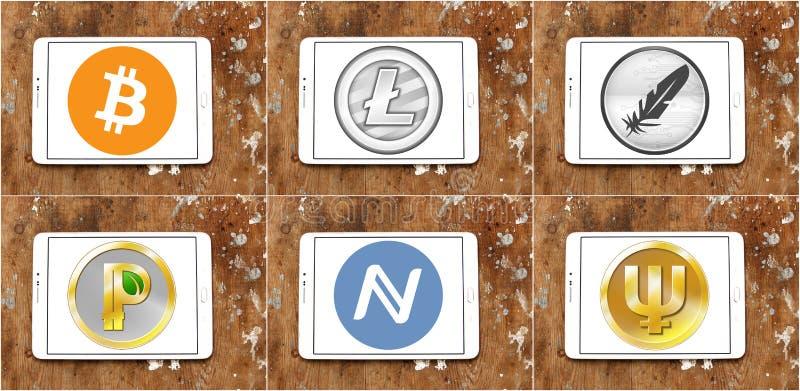 Icone globali di cryptocurrency illustrazione di stock