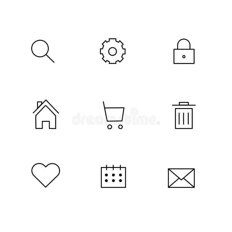 Icone grige di affari di Internet messe con le icone della casa del email dei rifiuti di ricerca del mercato illustrazione vettoriale