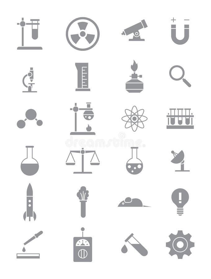Icone grige di scienza messe illustrazione di stock